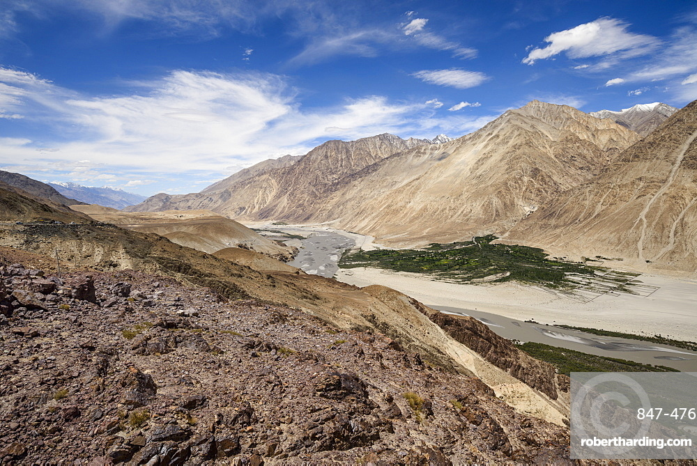 Looking down towards Khalsar village in the Nubra Valley, Khalsar, Ladakh, India, Asia
