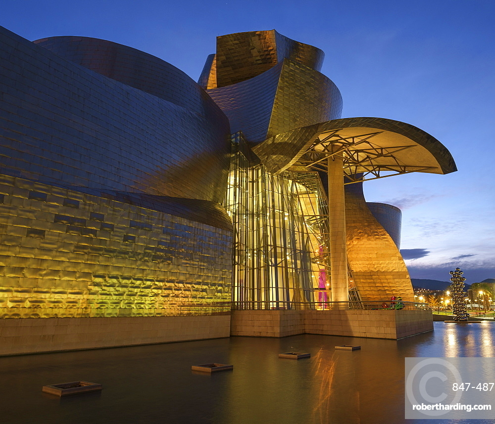 The Guggenheim Museum at night, Bilbao, Biscay, Basque Country, Spain, Europe