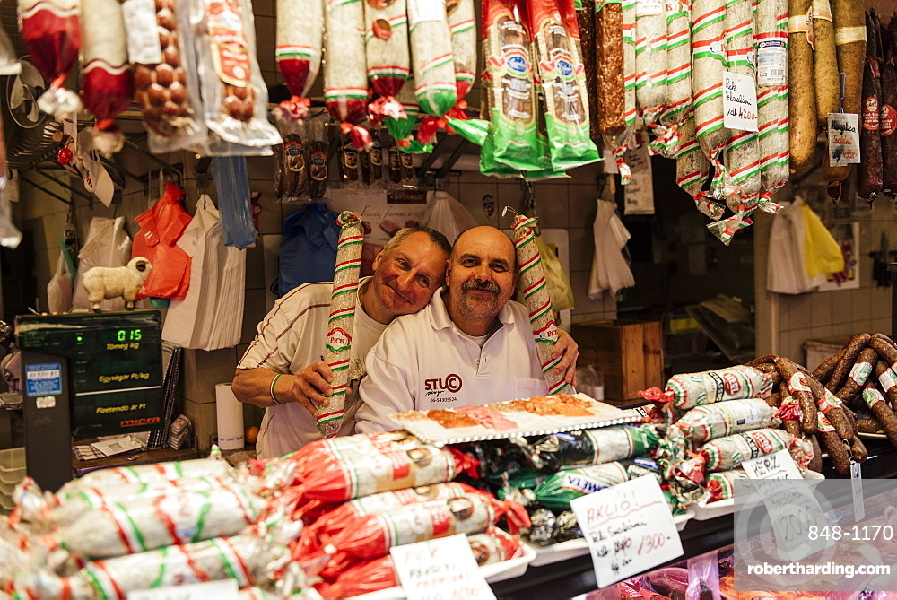 Detail of salami stall, Central Market Hall, Budapest, Hungary, Europe