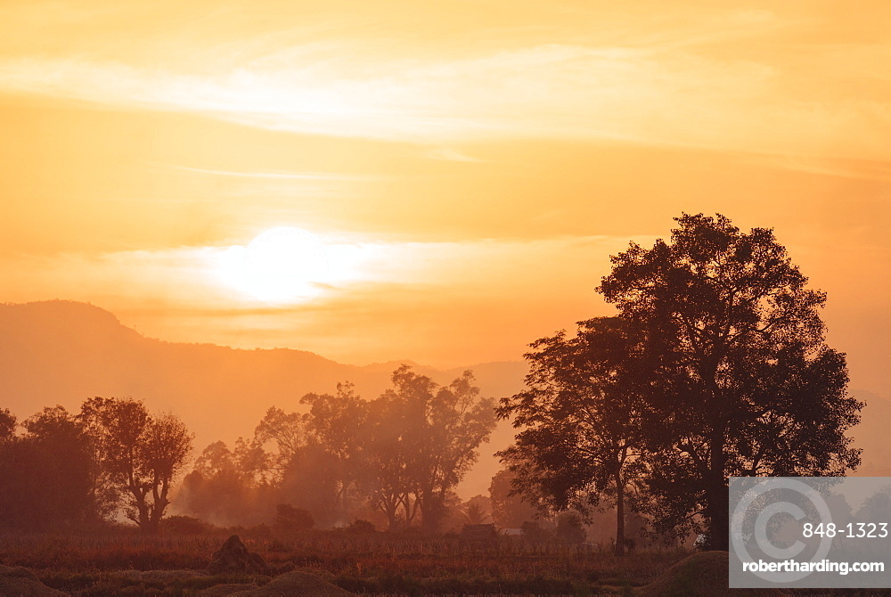 Sunset over Paddy fields near Hsipaw, Shan State, Myanmar (Burma), Asia