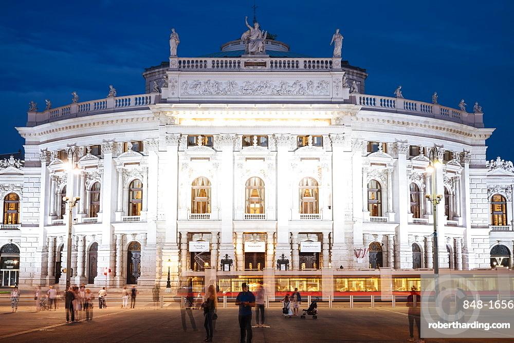 Exterior of The Burgtheater at night, UNESCO World Heritage Site, Vienna, Austria, Europe