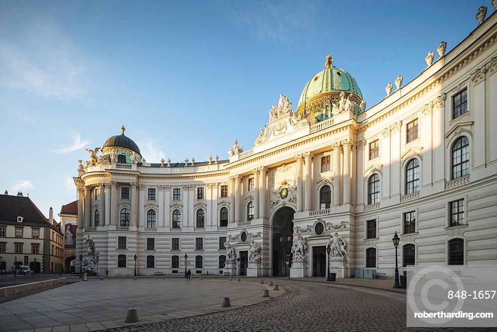 Exterior of The Hofburg Palace at dawn, UNESCO World Heritage Site, Michaelerplatz, Vienna, Austria, Europe