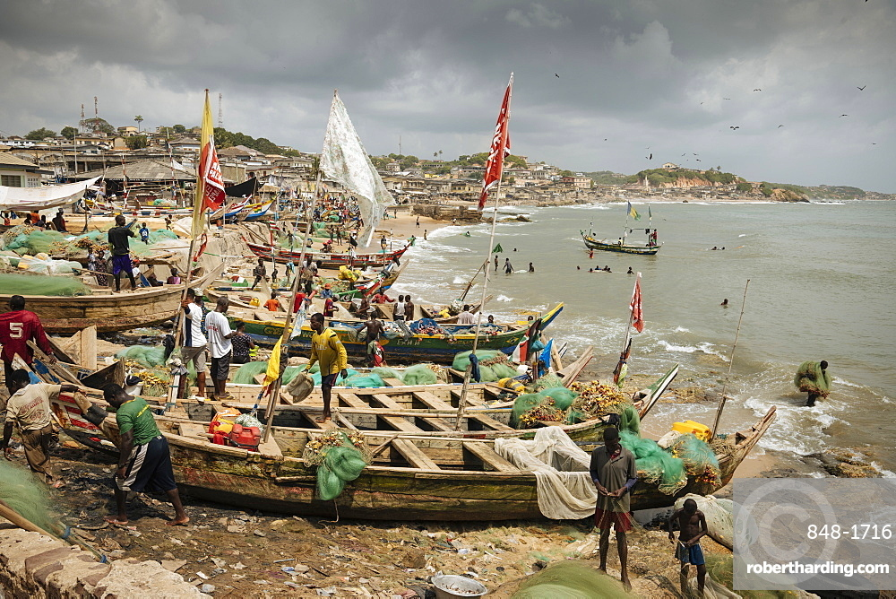 Fishermen outside Cape Coast Castle, Cape Coast, Ghana, Africa