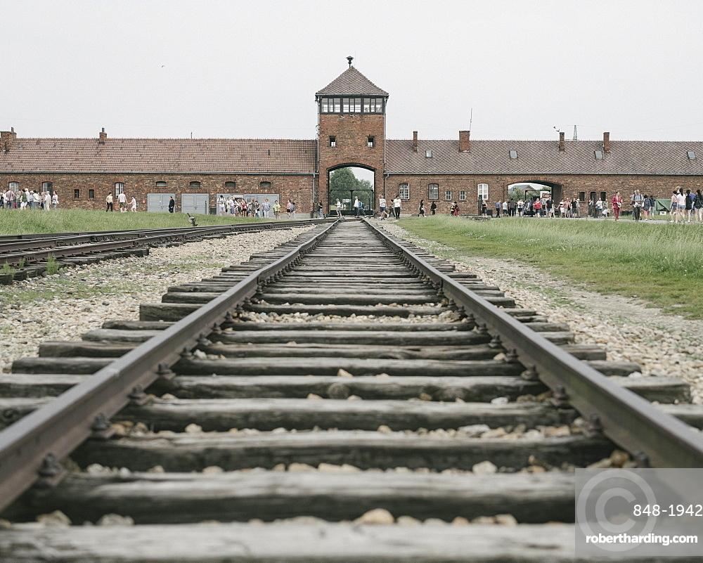 Railway tracks leading to the Birkenau Concentration Camp, UNESCO World Heritage Site, Auschwitz, Poland, Europe
