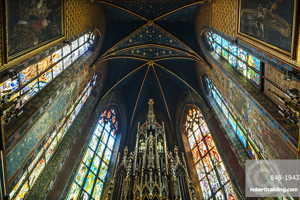 Interior view of ceiling of The Church of St. Francis of Assisi , Krakow, Malopolskie, Poland, Europe