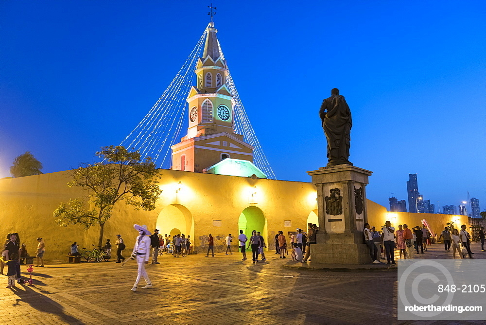 Clock Tower Monument at night, UNESCO World Heritage Site, Cartagena, Bolivar Department, Colombia, South America