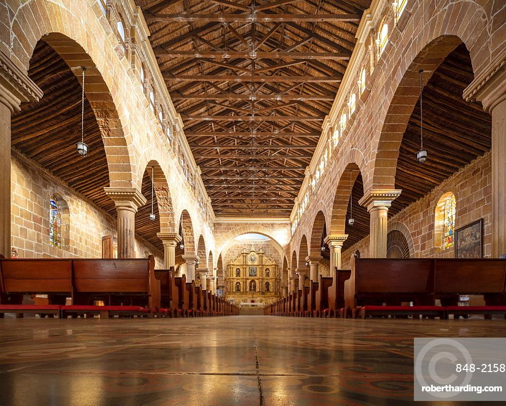Interior of Cathedral of Barichara, Barichara, Santander, Colombia, South America