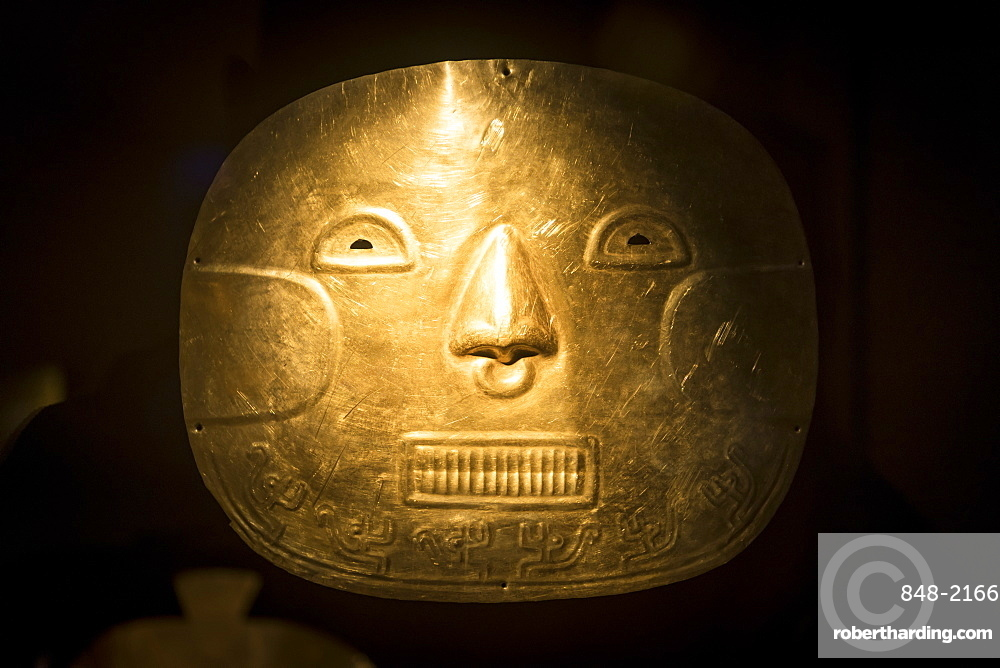 Funeral Mask Exhibit in The Gold Museum, Bogota, Cundinamarca, Colombia, South America