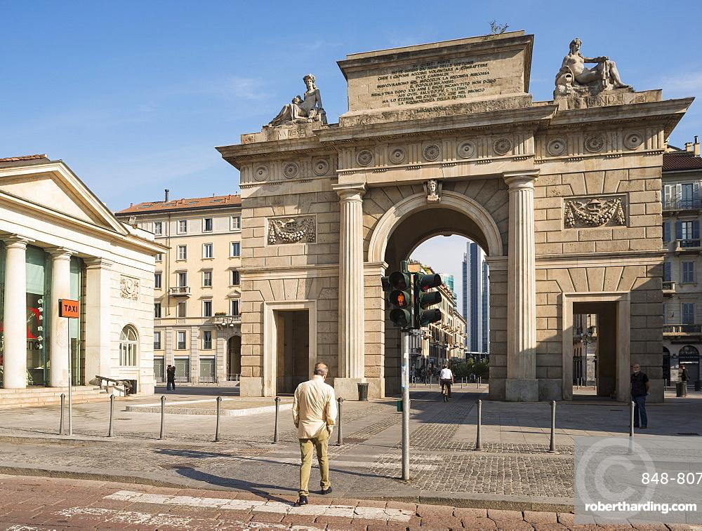 Exterior of Monumento di Porta Garibaldi, Milan, Lombardy, Italy, Europe