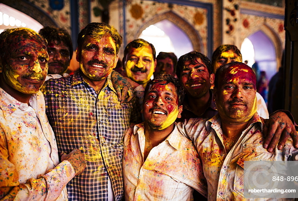 Lathmar Holi Celebrations in Nand Rae Temple, Nandagaon, Braj, Uttar Pradesh, India, Asia