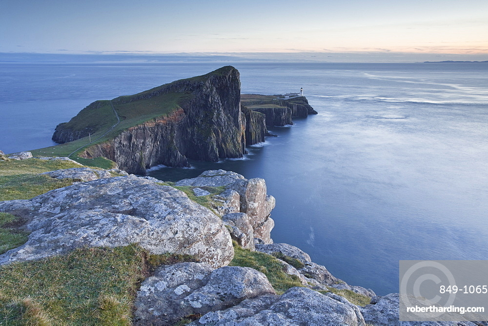 Neist Point lighthouse on the north-west coast of the Isle of Skye, Inner Hebrides, Scotland, United Kingdom, Europe