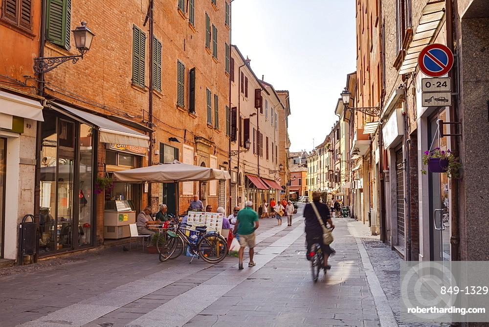 Via Giuseppe Mazzini in the city of Ferrara, UNESCO World Heritage Site, Emilia-Romagna, Italy, Europe