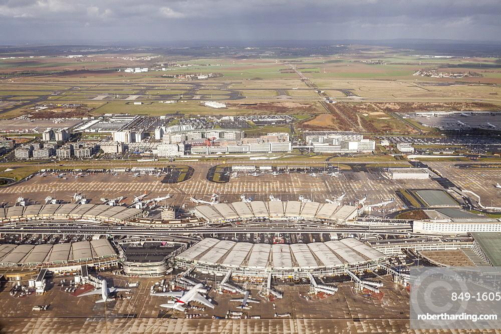 Aerial of Charles de Gaulle Airport, Paris, France, Europe