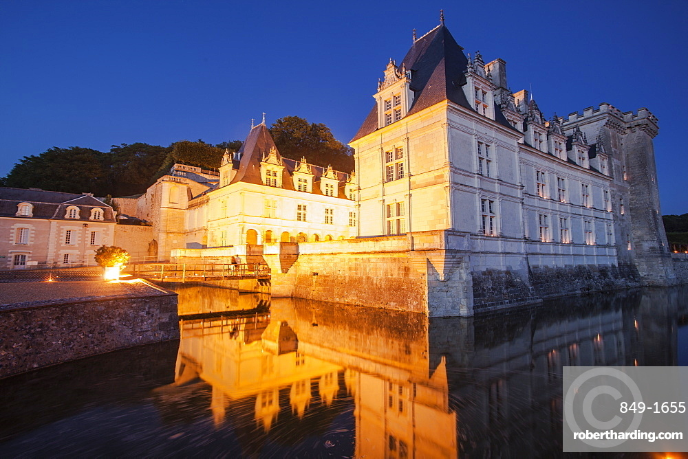 The chateau of Villandry at night, Indre-et-Loire, Loire Valley, UNESCO World Heritage Site, Centre, France, Europe