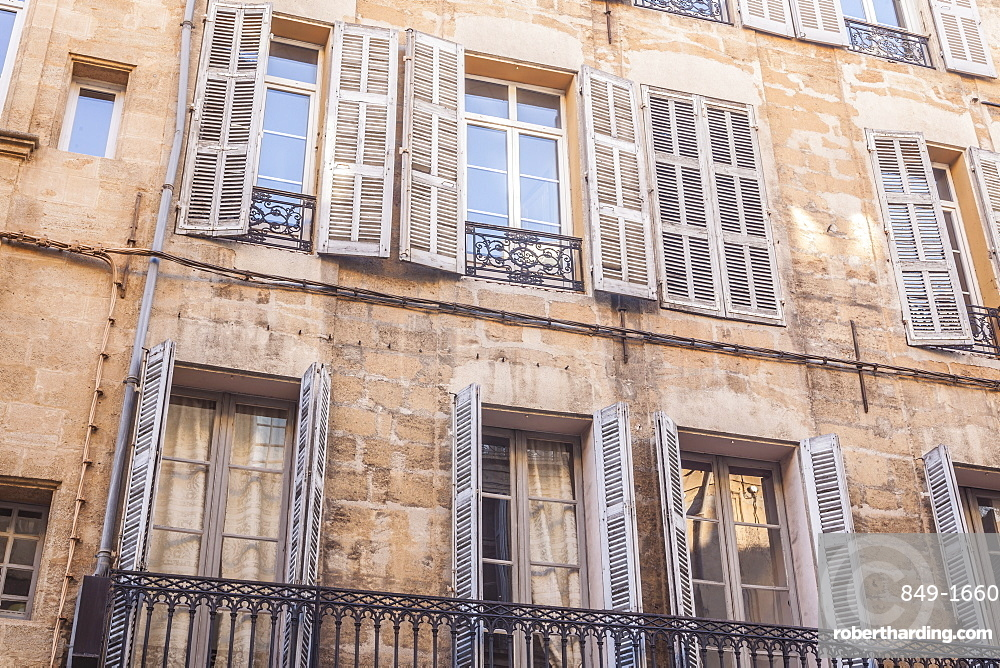 Typical building facade in Aix-en-Provence, Bouches du Rhone, Provence, France, Europe