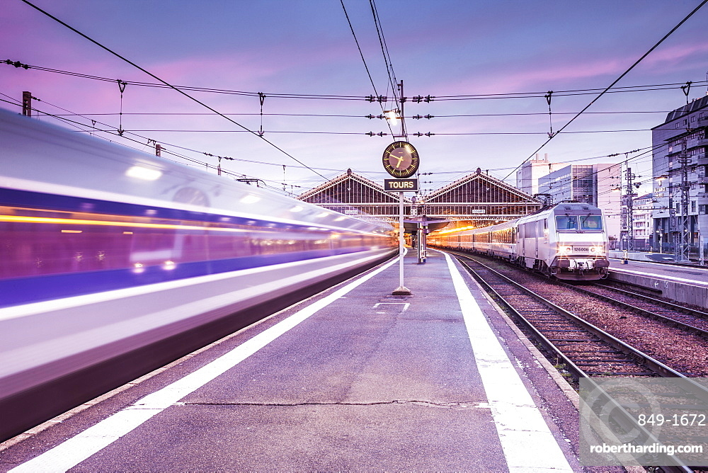 A TGV high speed train leaves the train station in Tours, Indre et Loire, Centre, France, Europe