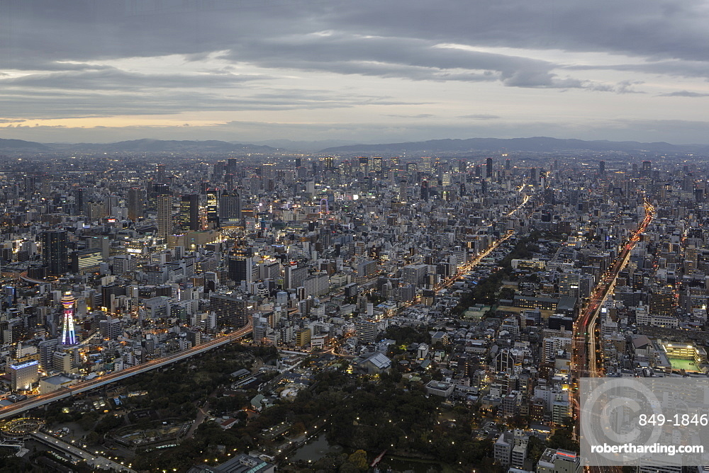 High rise buildings in central Osaka, Japan, Asia