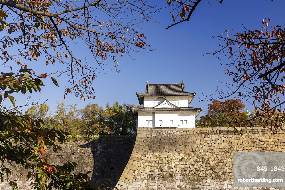 The walls of Osaka Castle in Osaka, Japan, Asia