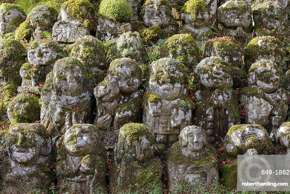 A collection of 1200 Rakan statues representing the disciples of Buddha, Otagi Nenbutsu-ji temple, on the outskirts of Kyoto, Japan, Asia