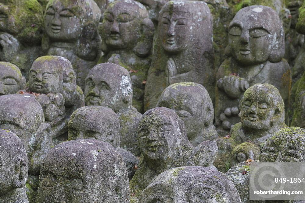 A collection of 1200 Rakan statues representing the disciples of Buddha, Otagi Nenbutsu-ji temple, on the outskirts of Kyoto, Japan, Asia