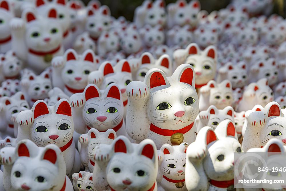 Cat statues in Gotokuji Temple in Setagaya city, Tokyo, Japan, Asia