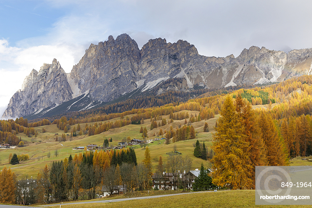 Autumn color near to Cortina d'Ampezzo in the Dolomites, Veneto, Italy, Europe