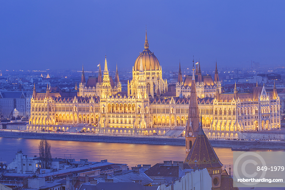 Sitting on the banks of the River Danube, the Hungarian Parliament Building dating from the late 19th century, built in Gothic Revival style, UNESCO World Heritage Site, Budapest, Hungary, Europe