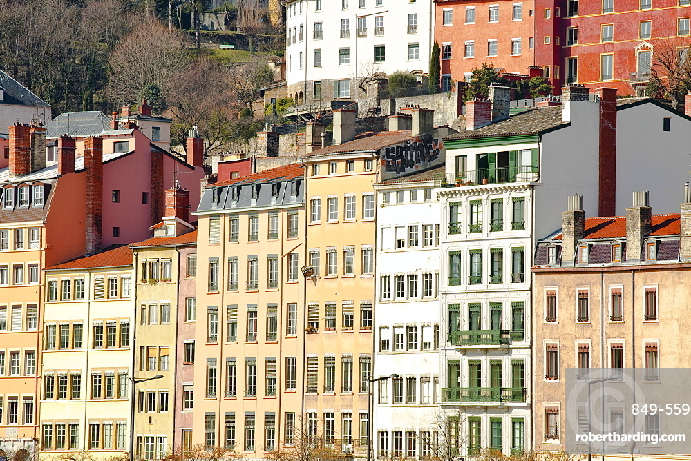 Typical colourful building facades facing onto the River Saone in Lyon, Rhone-Alpes, France, Europe