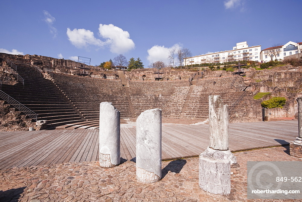 The old Roman Theatre of Fourviere in the city of Lyon, Rhone-Alpes, France, Europe