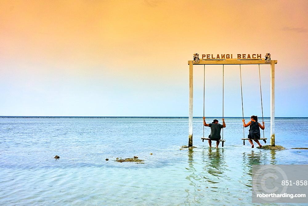 Sea swing at Pelangi beach on Gili Air, West Nusa Tenggara, Indonesia, Southeast Asia, Asia
