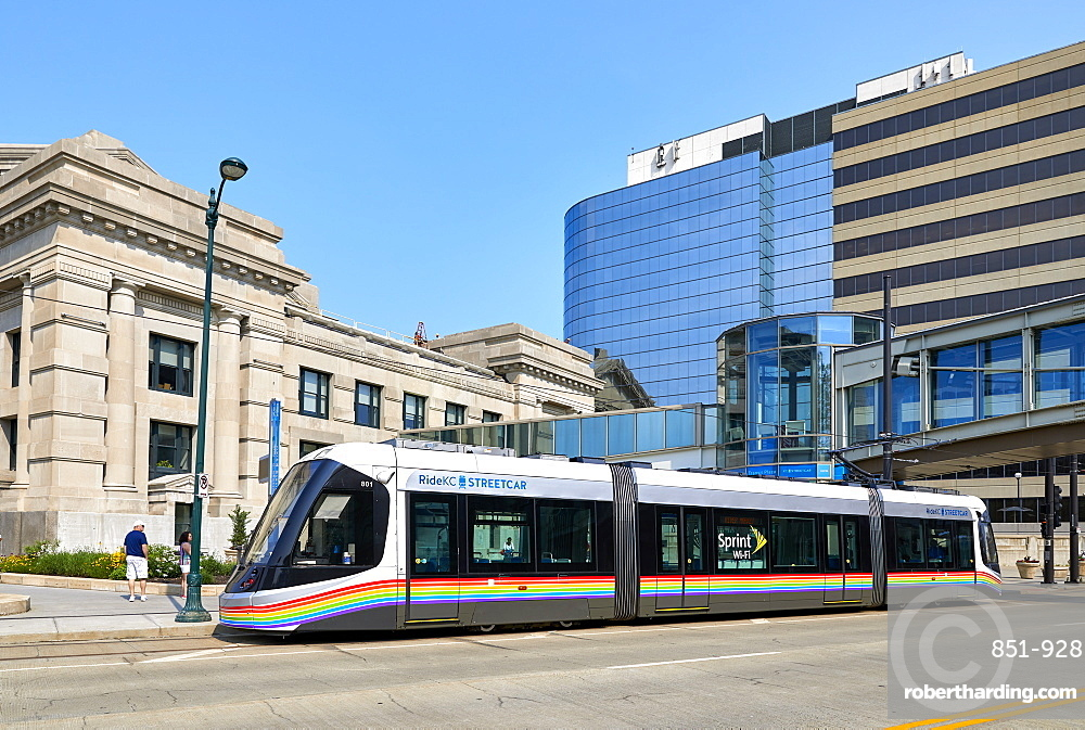 A KC Streetcar outside Union Station in Downtown Kansas City.
