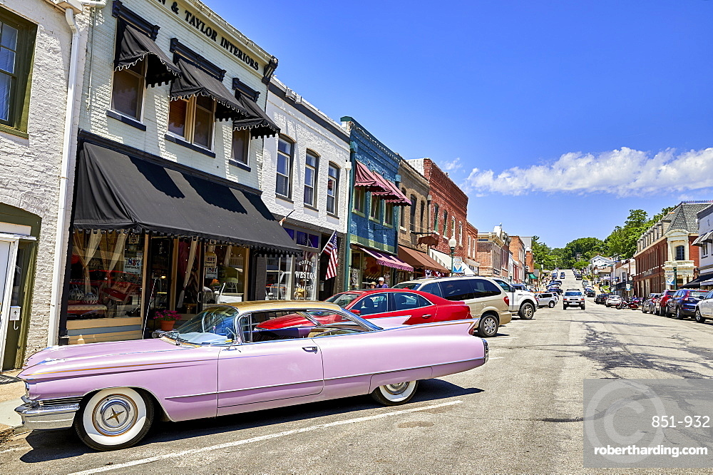 A Pink 60???s Cadillac in the historic old town of Weston, MO, USA.