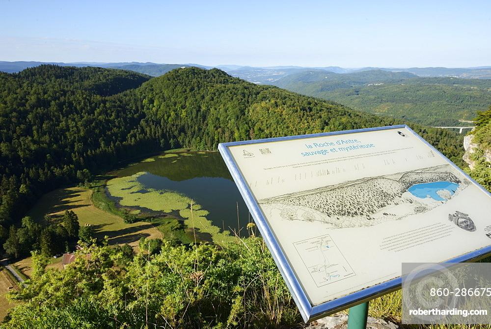 Panel gazebo on Lake Antre from the Rock Antre, Villards-d'Héria , Jura, France