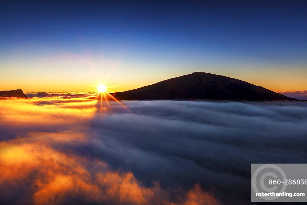 Sunrise on Piton de la Fournaise volcano, Reunion