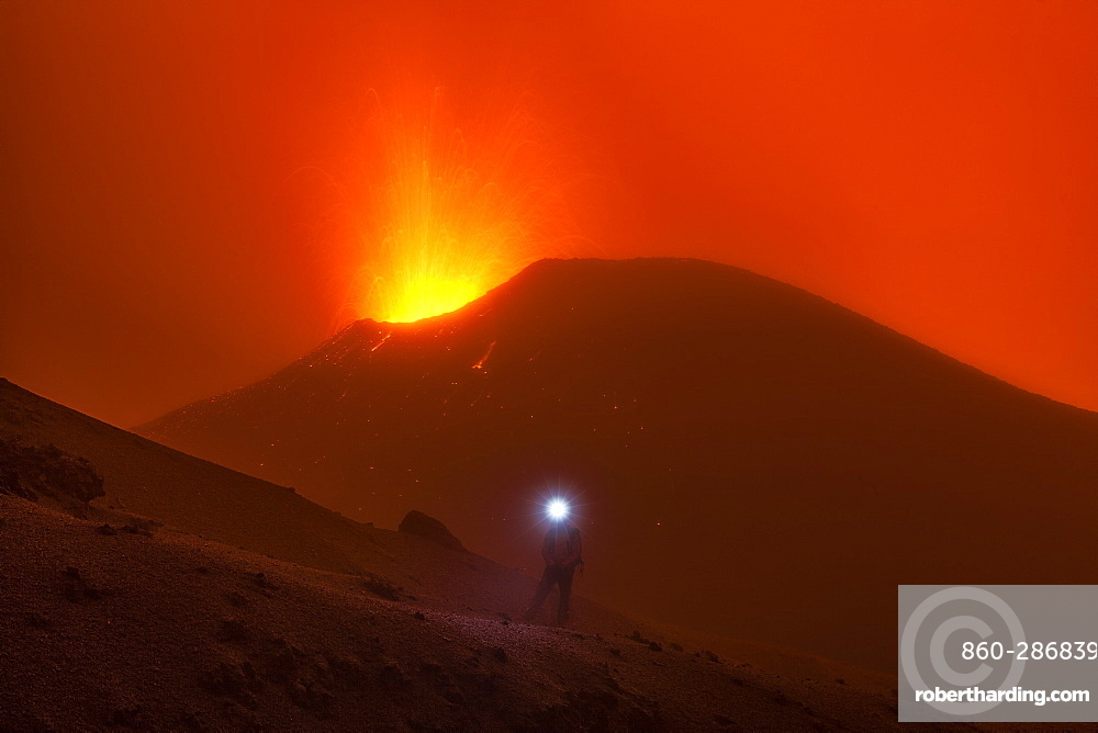 Volcanologist approach on Piton de la Fournaise in activity, Volcano eruption of May 2015, Reunion