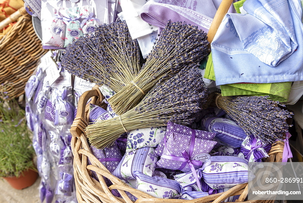 Bouquets and sachets of lavender in a wicker basket, summer, Provence, France