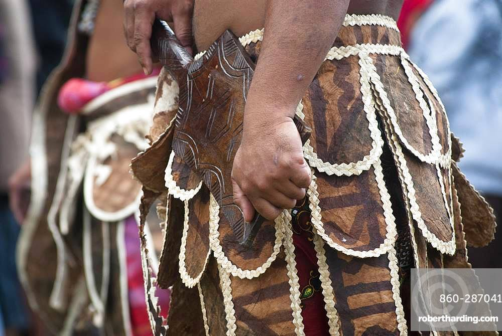 Details of traditional Futuna dance clothes, Cultural festival. Common Poya. New Caledonia.