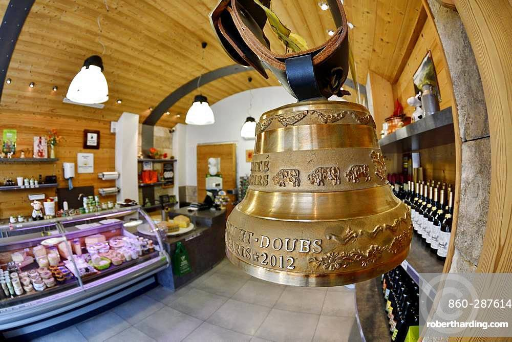 Comte cheese making, bell, Cheese factory and shop, Damprichard, Doubs, France