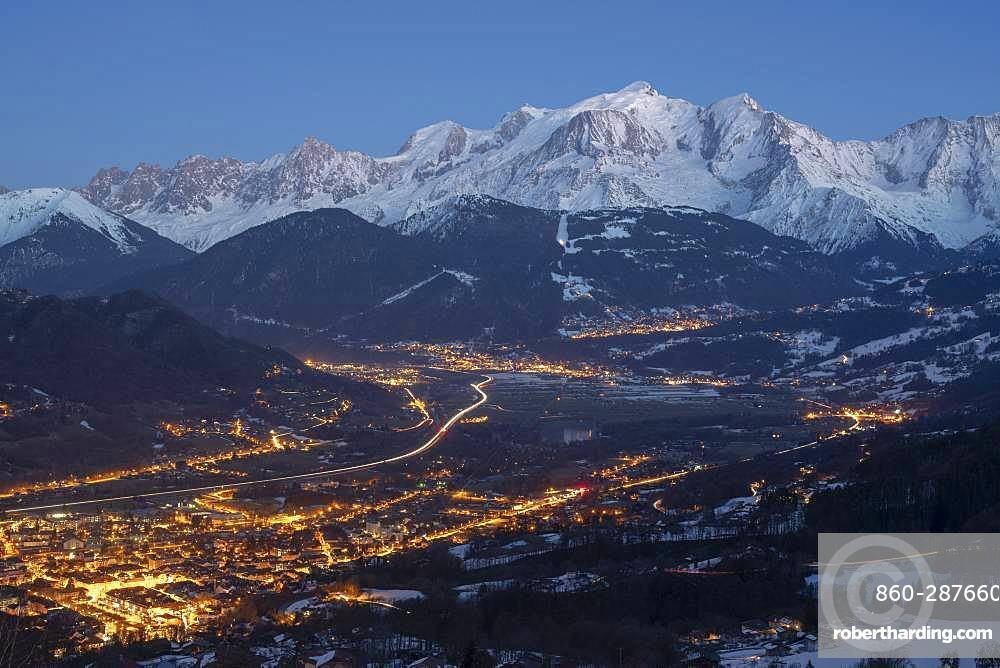 Massif of Mont-Blanc, at sunset, seen from the station of Brasses, in Haute-Savoie, Alps, France