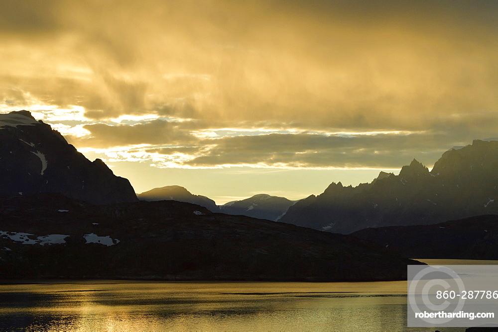 Twilight on the coast of Greenland in summer