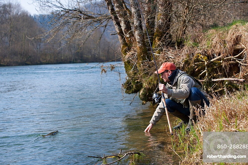 Fly fishing on the Loue river, Franche-Comté, France