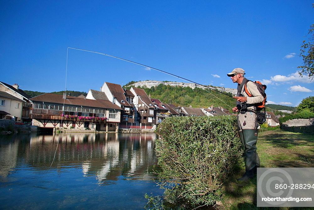 Fly fishing on the Loue river, Ornans, Doubs, Franche-Comté, France