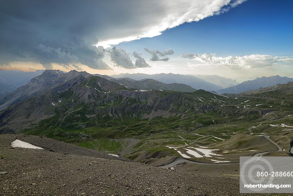 Cime de la Bonette, Col de Restefond, summits of Ubaye under a stormy sky, Alps, France