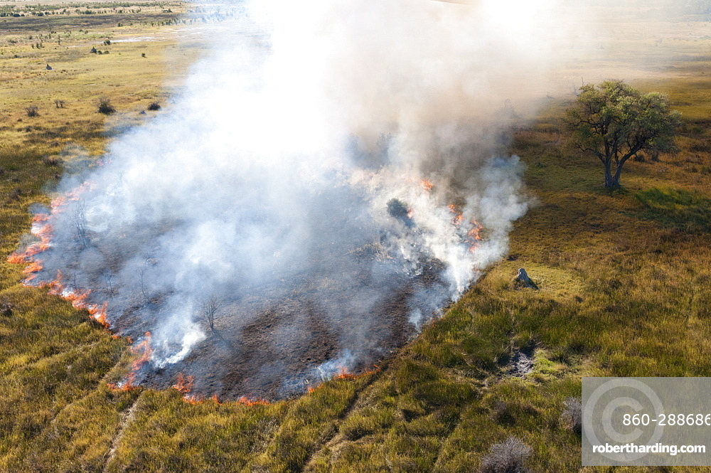 Aerial view of a bushfire in the Okavango Delta, Botswana.