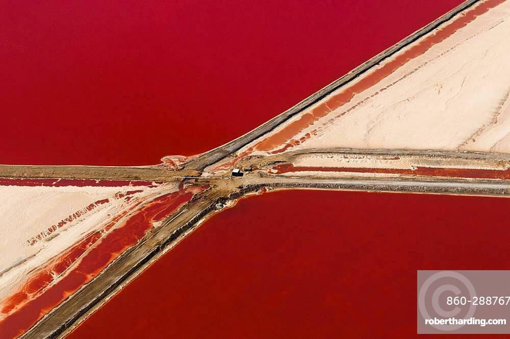 Aerial view of Salt Evaporation Ponds, Walvis Bay, Skeleton Coast, Namib Desert, Namibia.