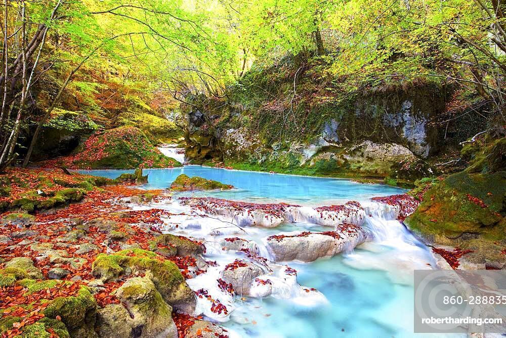 Autumn colors on the Urederra river, Baquedano, Navarra, Spain