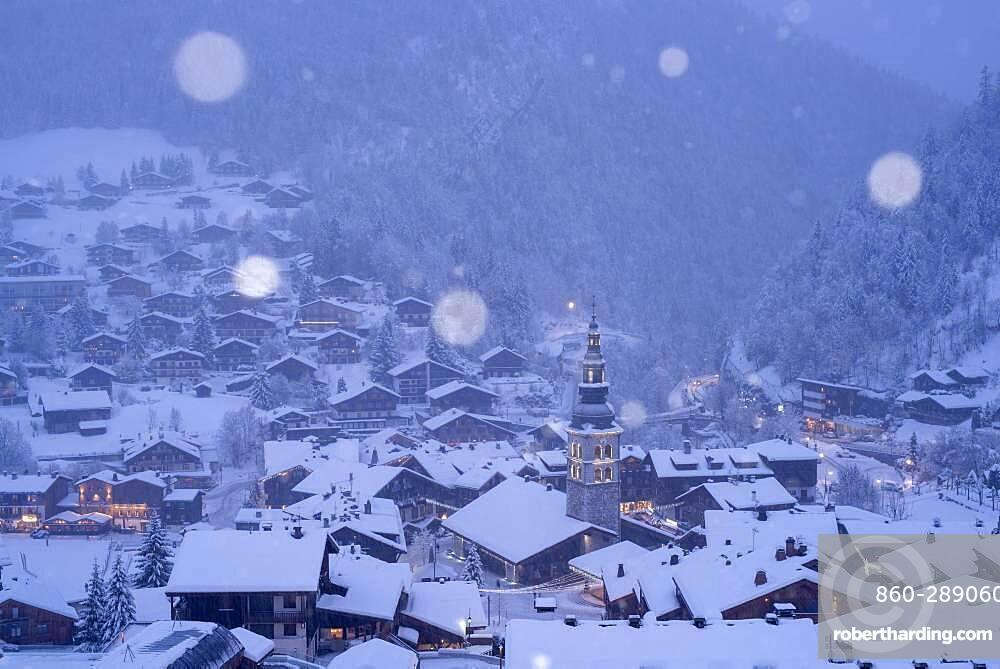 Snowfall above La Clusaz. Winter scene in Haute-Savoie, France