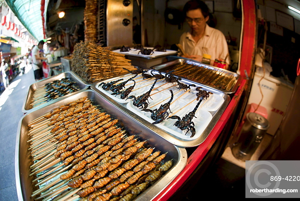 Deep fried and on a stick scorpions silkworms beetles crickets centipedes and spiders for sale at a food stand in Guangzhou China
