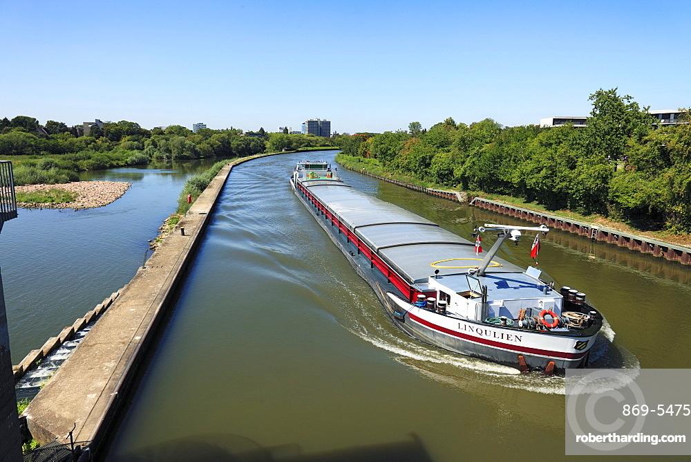 cargo ship on the Neckar canal river landscape