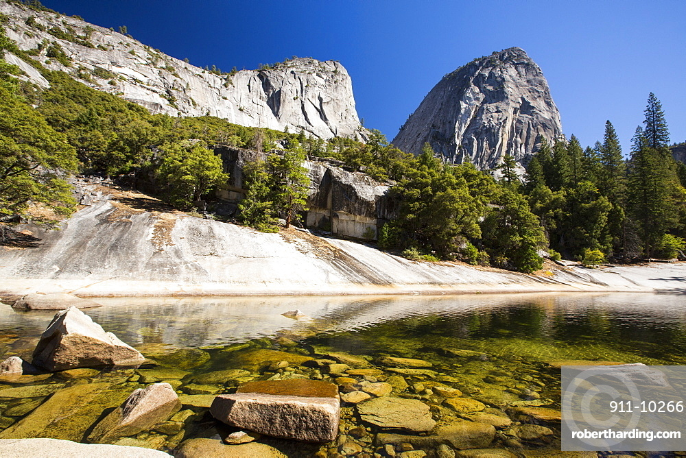 A pool above the Nevada Fall in the Little Yosemite Valley, Yosemite National Park, California, USA.